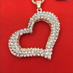 Crystal Heart Gold open pendant chain necklace❤️